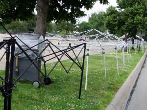 Tailgating tent frames at Rosenblatt