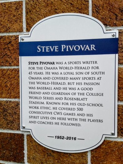 Photo of plaque honoring Steve Pivovar