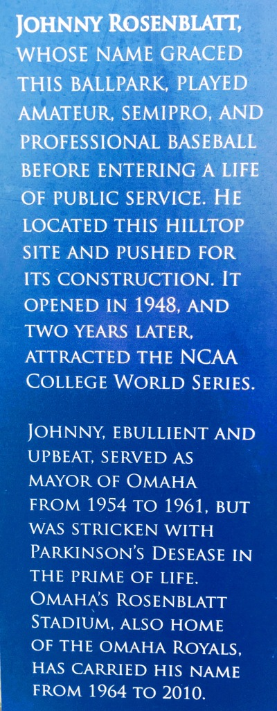 Closeup of Johnny Rosenblatt plaque at Omaha's Infield at the Zoo