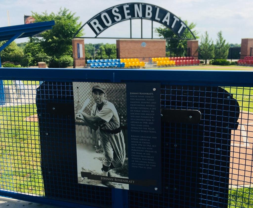 Johnny Rosenblatt plaque at Omaha's Infield at the Zoo
